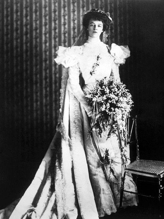 Eleanor Roosevelt in her wedding dress, 1905
