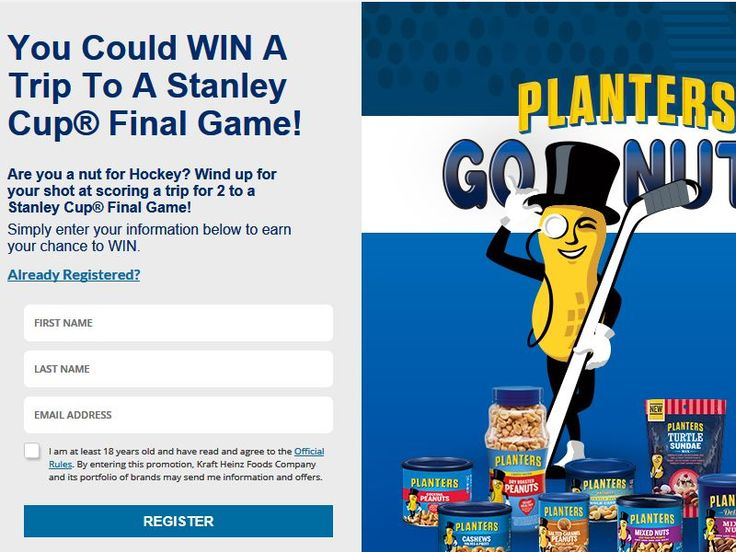 Enter the Planters Peanuts Ultimate Hockey Fan Sweepstakes for a chance to win a 2-night trip for two to the Stanley Cup Final Game!