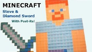 Minecraft Birthday Party Decorations. DIY Minecraft wall art using Post-its. How to make Minecraft Steve and Diamond Sword wall art using Post-its.