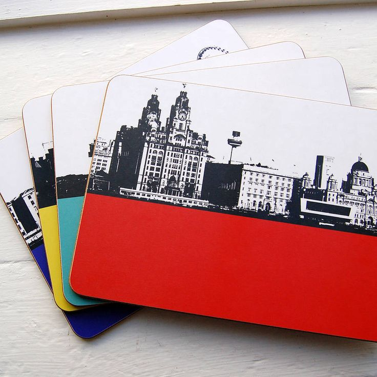 Individual contemporary melamine table mats featuring cityscapes of Liverpool in four vibrant block colours, created by designer Jacky Al-Samarraie.The Liverpool landscapes are part of Jacky's best selling Landscape collection. The collection includes Yorkshire, Scotland, Lake District and London landscapes, all in her unique style. The range includes Liver Buildings, Crosby Beach, Museum of Liverpool Life, Palm House, St George's Hall and Albert Dock with Anglican Cathedral. Made in the…