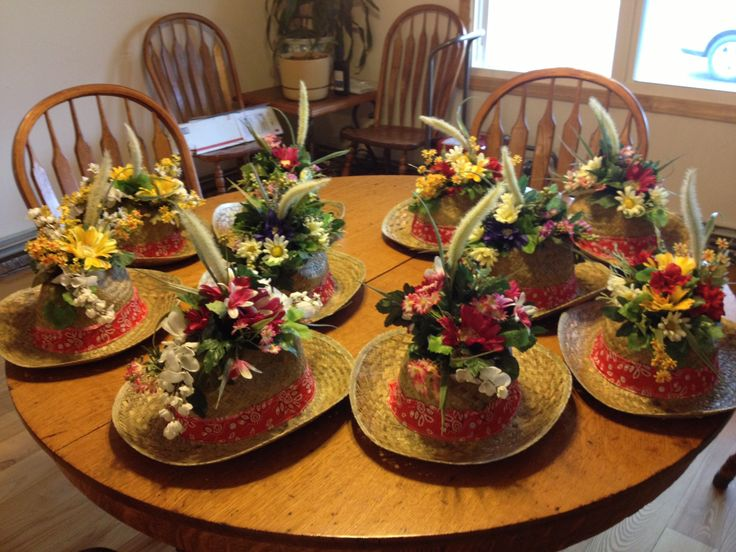 My cowboy hat flower centerpiece valerie s ideas