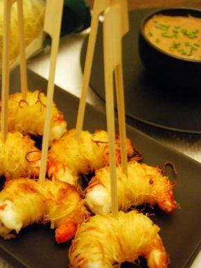 Gamberi croccanti in kataifi con salsa soia e miele: Ricetta di Gamberi croccanti in kataifi con salsa soia e miele - Tutto Gusto