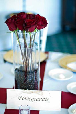 red rose and coffee bean centerpiece www.kirkbrides.com