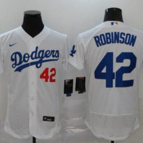 Brooklyn Dodgers #42 Jackie Robinson White Jersey Material: 100 ...