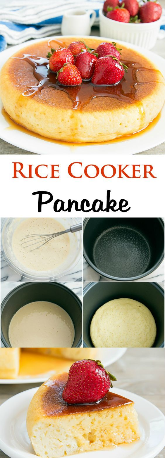 These large sized pancakes are made in a rice cooker. They look and taste delicious. They're also known as Japanese pancakes. A great non-rice recipe for a rice cooker.