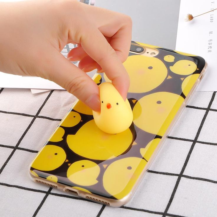Funny 3D Cute Squishy Phone Case For iPhone 7 6 6S Plus Cartoon Doll Silicone Chick Chicken Hard PC Back Cover Cases Best Gifts