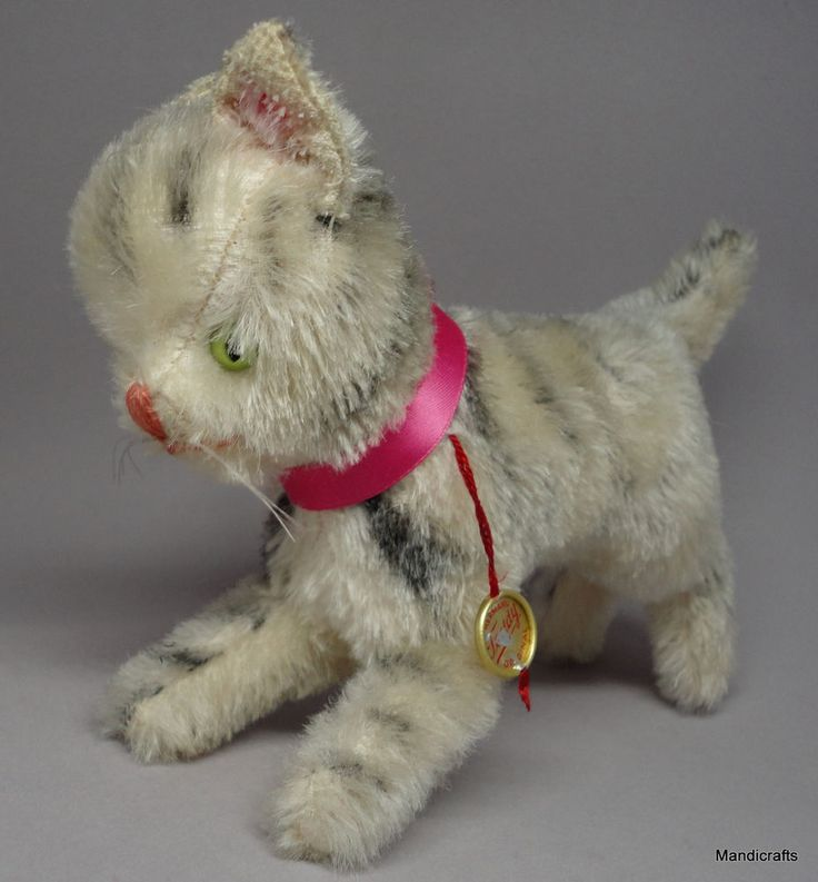 #Hermann Tabby #Cat Standing Mohair Plush 12cm 5in ID Swing Tag c1960s 70s Vintage #Hermann AllOccasion