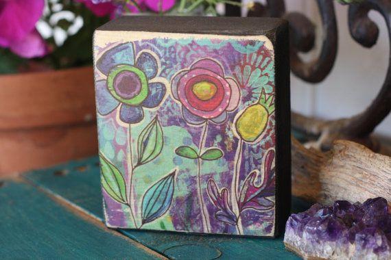 painted blossoms, free standing, wood block, art, purple flowers, mustard flowers, rustic artsy, decor