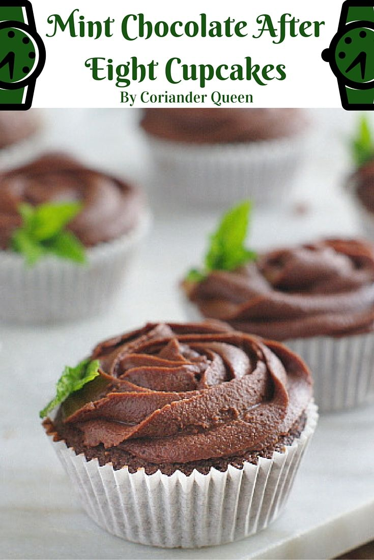 Delicious mint chocolate after eight cupcakes with a surprise mint fondant filling! Light chocolate sponges topped with a swirl of chocolate icing, yum!
