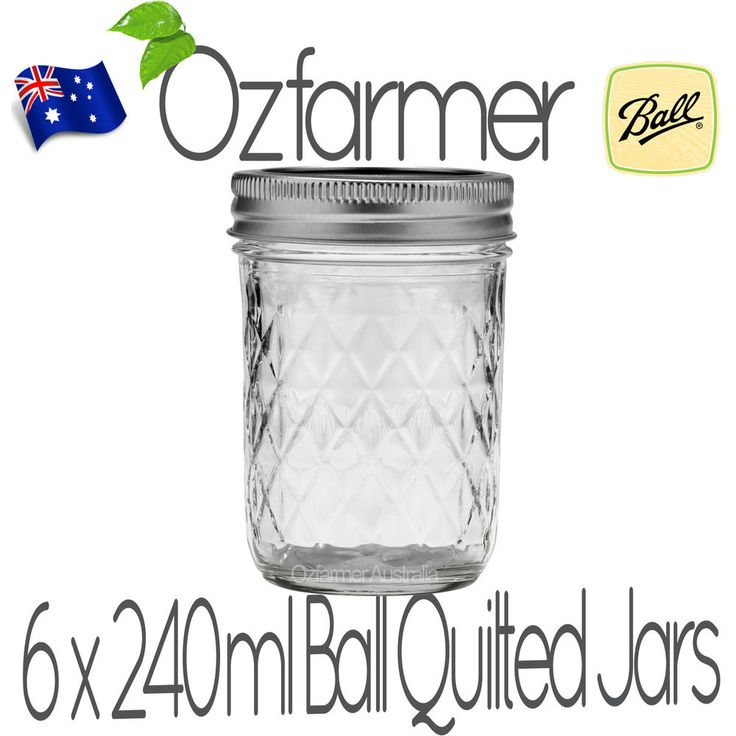 6 x 237ml 8oz Quilted Half Pint Ball Mason Canning Preserving Jam Jars BPA Free