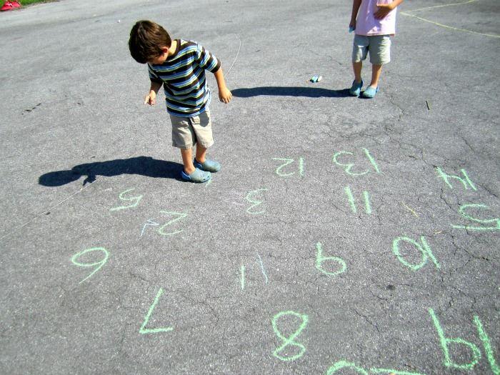 Math activities using sidewalk chalk