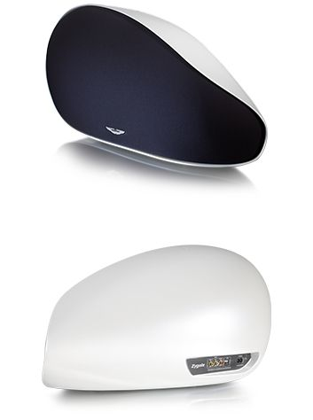 Aston Martin Zygote - a luxurious wireless audio system for your home. Packed with the latest technology, enclosed in a beautifully sculpted case. Here: front and back of the Zygote in Morning Frost White