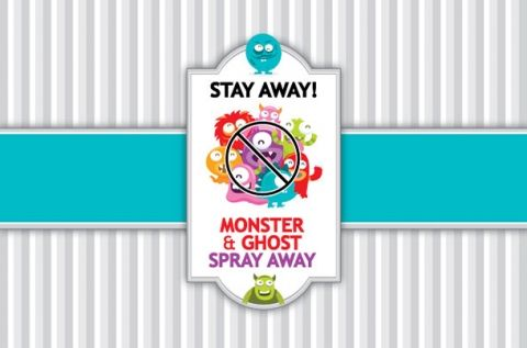 Ghost and monster spray away printable label