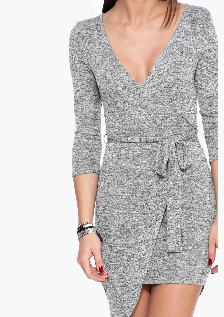 Paige Lucky Wrap Dress in Heather grey