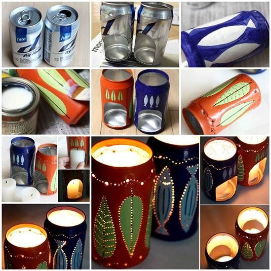 DIY Flickering Candle Holders from Beer Cans | iCreativeIdeas.com Like Us on Facebook == https://www.facebook.com/icreativeideas