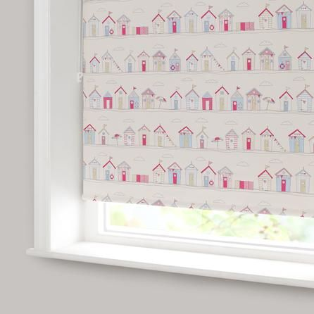 beach huts pink blackout roller blind dunelm lily 39 s new. Black Bedroom Furniture Sets. Home Design Ideas