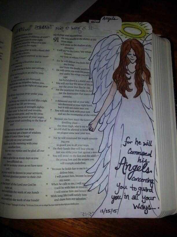 Bible Journaling art by Calley Welch For he will command his angels concerning you to guard you in all your ways; Psalm 91:11
