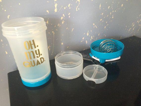 Oh My Quad shaker bottle,  blender bottle, workout pun bottle, funny workout protein shaker