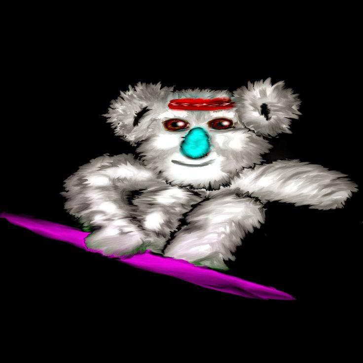 Koala snowboarder grab