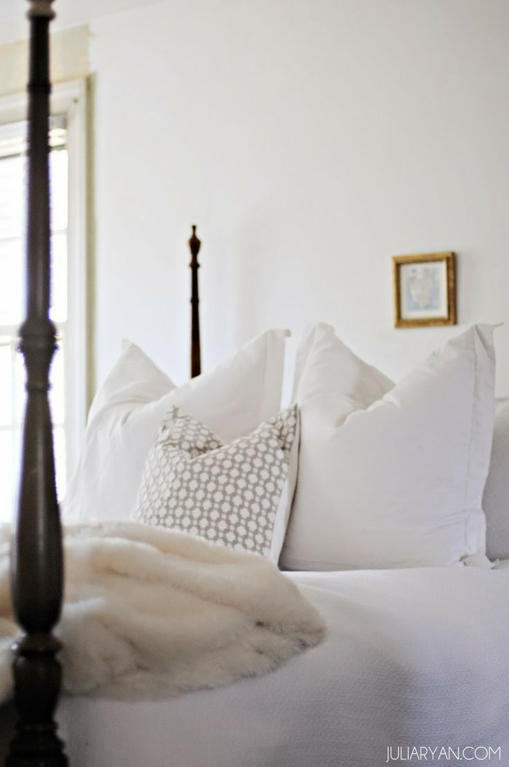 Beautiful linens and master bedroom (especially those white Euro shams!) by Julia at Pawleys Island Posh