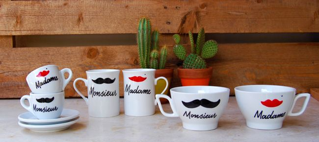 Monsieur - Madame: coffee cups & mugs decorated by hand | Monsieur-Madame: tazze e tazzine decorate a mano.