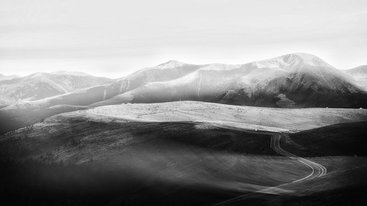 Transalpina - Road in the mountains, black and white.
