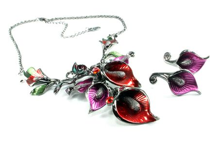 Flower Necklace with Butterly: , Colourful and eye cathcing!  Matching peired type earrings -  £19.99 - in Stock
