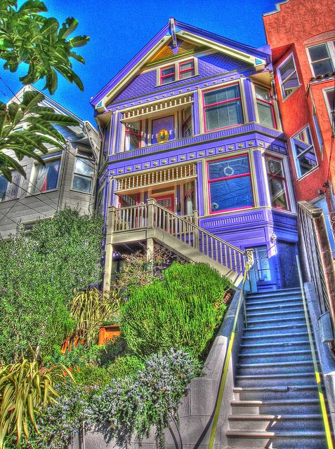 the purple victorian house on castro street hdr. Black Bedroom Furniture Sets. Home Design Ideas