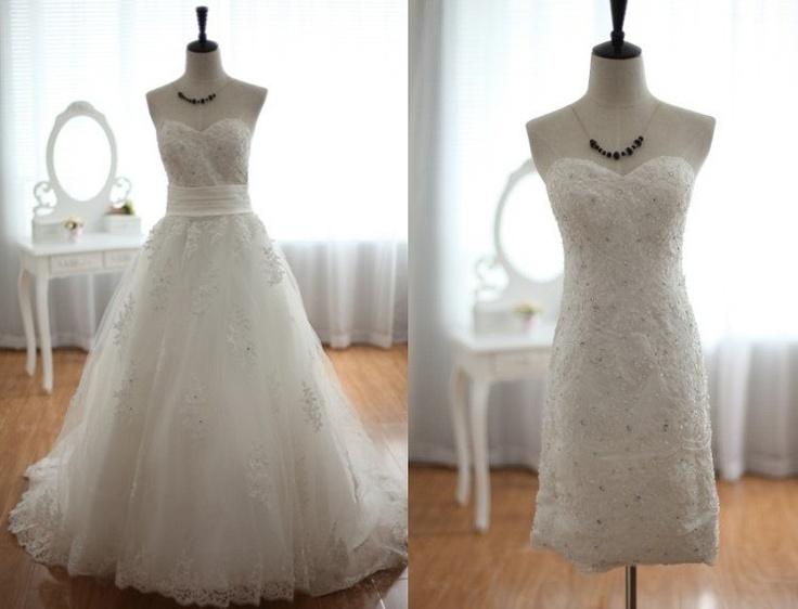 Lace tulle wedding dress 2 1 detachable skirt beaded for Removable tulle skirt wedding dress