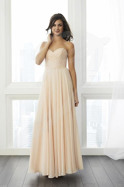 Balletts Bridal - 24823 - Bridesmaids by Jacquelin Bridals Canada - This draped lace bodice features a scallop lace trim over the waist seam and a full chiffon skirt. Pictured in Blush Pink/Blush Pink/Blush Pink, Coral/Coral/Coral.
