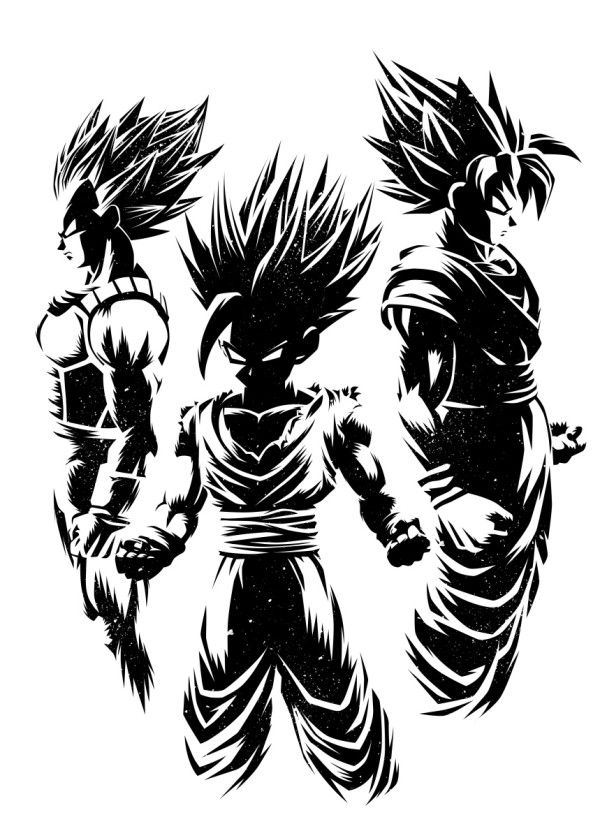 Three Warriors Poster Print By Alberto Perez Displate In 2020 Dragon Ball Tattoo Dragon Ball Super Art Anime Dragon Ball Super