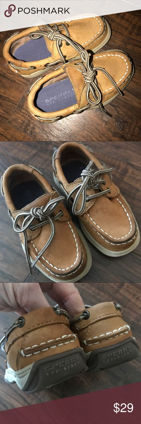 Sperrys boat shoes boy 7M toddler Tan caramel 7 toddlerSperry's Tan boat shoes VGUC a few water marks or dark spots from a gentle clean up. Used very little. Smoke free dog friendly home Sperry Top-Sider Shoes