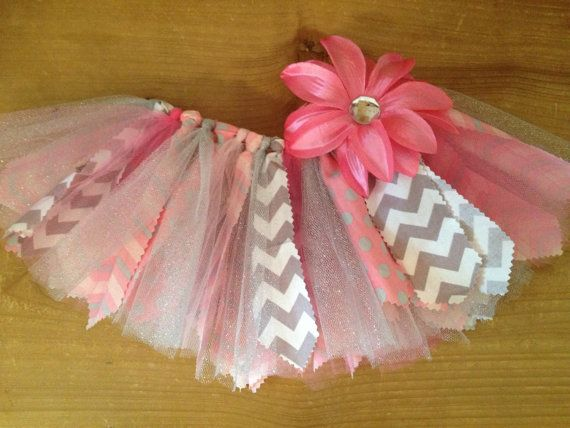 Pink and Grey Chevron Scrap Fabric Tutu by ScrapHappyTutus on Etsy, $25.00