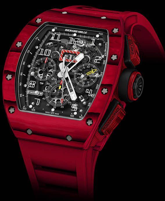 La Cote des Montres : La montre Richard Mille Nouvelle RM 011 Quartz TPT® Rouge - La toute dernière évolution du boîtier en quartz TPT® se drape d'un rouge intense