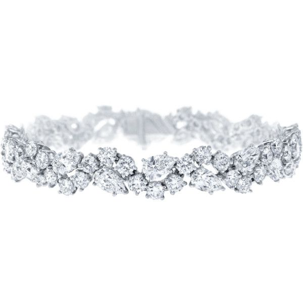 Winston Cluster by Harry Winston, Diamond Bracelet ❤ liked on Polyvore featuring jewelry, bracelets, diamond jewellery, diamond jewelry, cluster jewelry, diamond bangle and harry winston jewelry