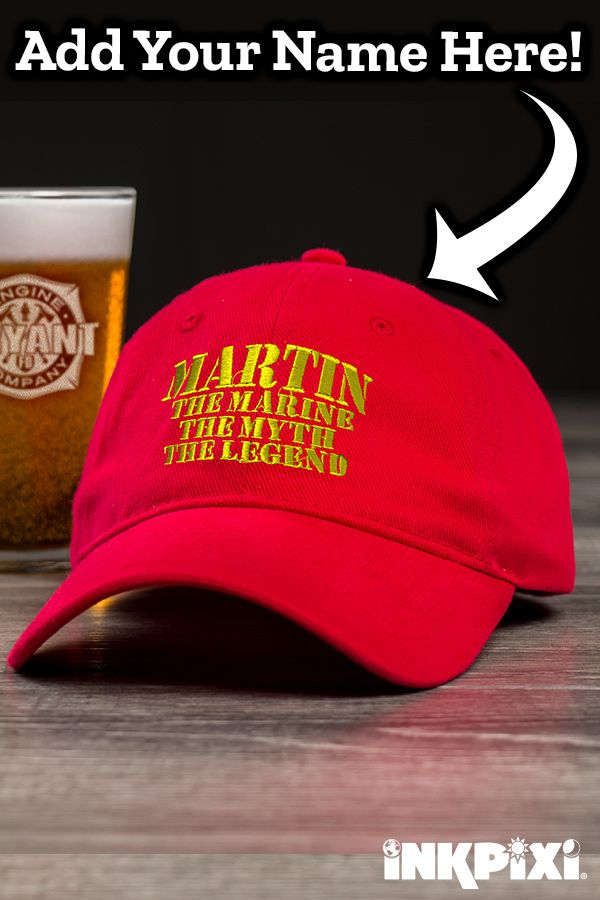 db9e24e9471bb Get a bravo from your crew in a personalized Marine Myth Legend hat. Add  any name to this outstanding design for a cap you will be proud to wear.