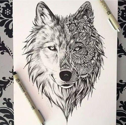 татуировки волка на грудине мужские
