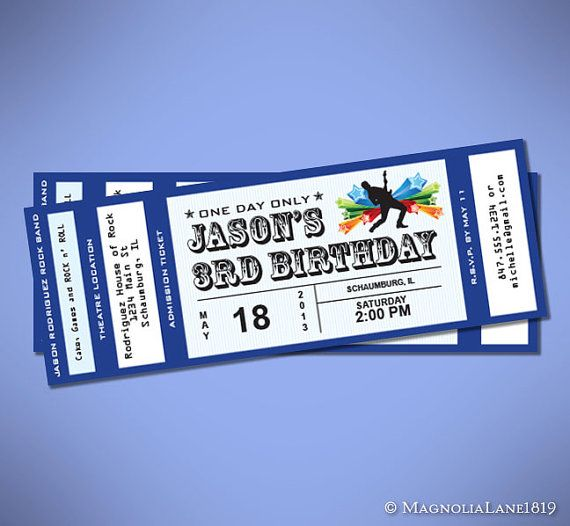party package customized rock star concert ticket birthday with