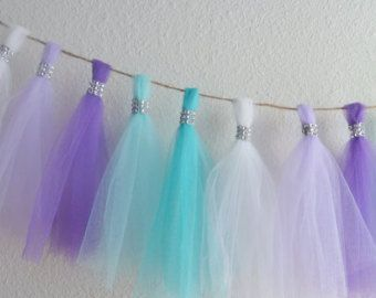 This garland would be great as decoration for a mermaid themed birthday party or baby shower. frozen aqua teal lavender purple tulle tassel garland bling mermaid birthday party wedding baby shower 1st birthday nursery decor