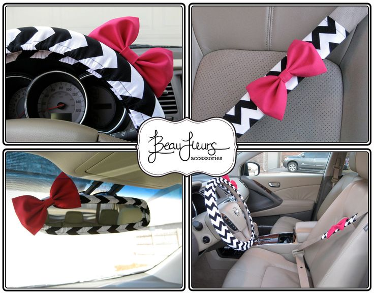 The Original Custom Steering Wheel Cover, Mirror Cover and Seatbelt Cover with Matching Bow by BeauFleurs on Etsy