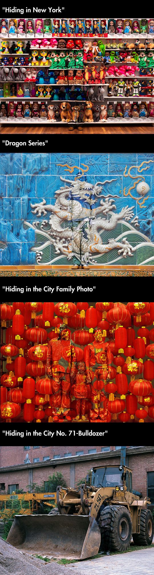 "Chinese artist Liu Bolin paints himself to blend into his surroundings as part of his series ""Hide in the City"""