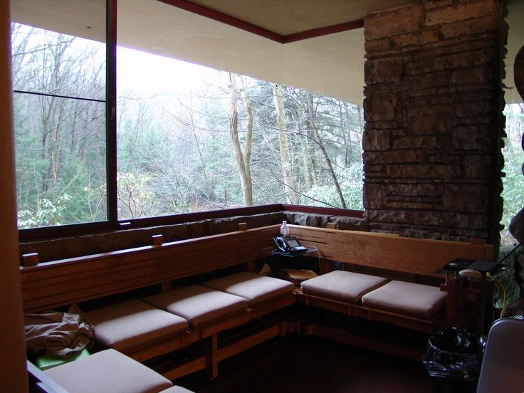 A seating area from FLW's Falling Water.