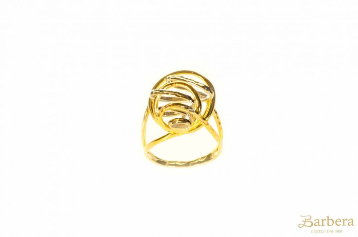 anello in oro giallo e bianco 18kt con intreccio lucido e martellato, gr 6,3