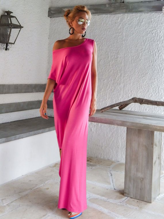 Strech Cotton  Maxi Dress / Fuchsia Kaftan / Asymmetric Plus Size Dress / Oversize Loose Dress / #35007