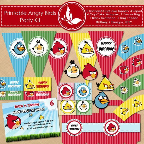 FREE Angry Birds Printable Birthday Set