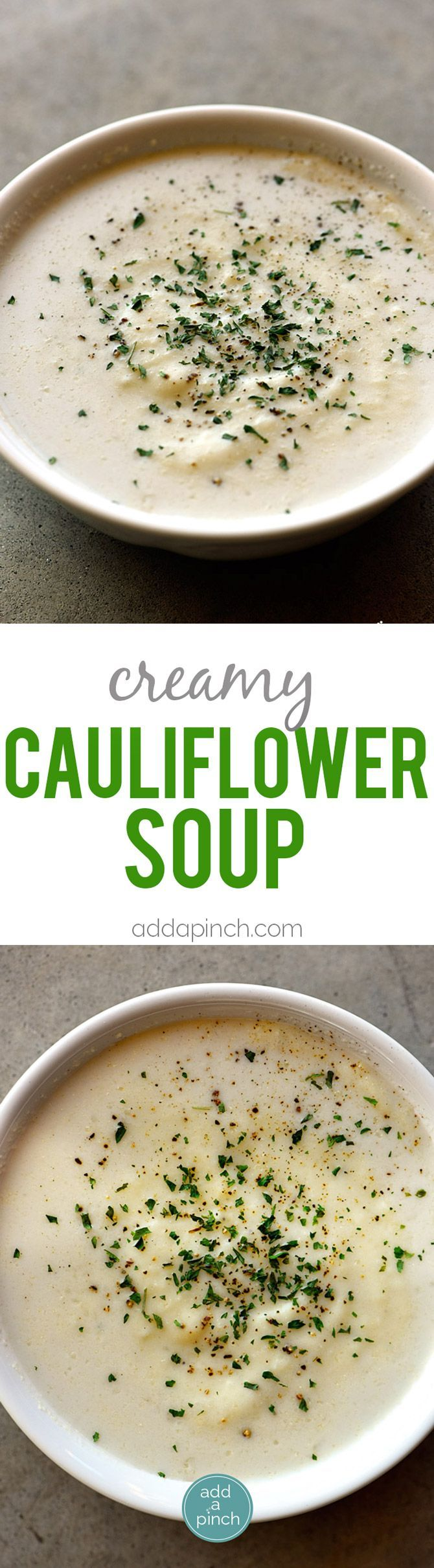 Creamy Cauliflower Soup Recipe - Creamy Cauliflower Soup makes a delicious and comforting soup recipe without a drop of cream! The garlic, onion, and cauliflower are blended together to create a dairy-free, creamy cauliflower soup recipe that everyone loves! // http://addapinch.com