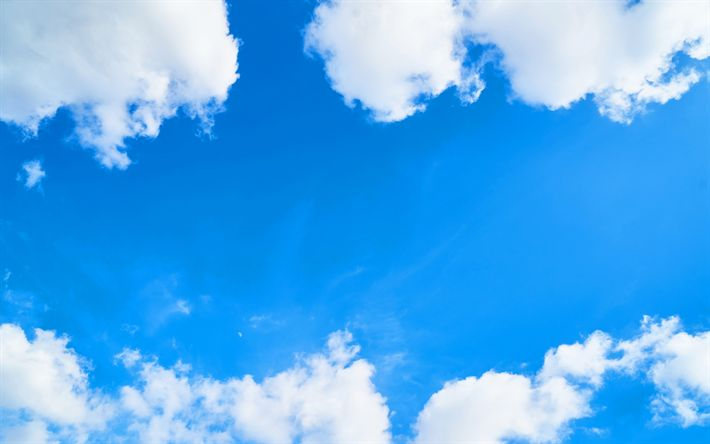Download wallpapers blue sky, white clouds, sky, air