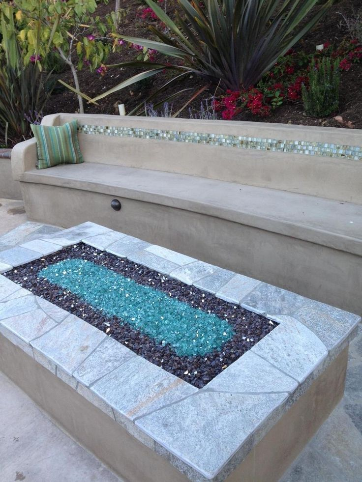 rectangular fire pits with glass - Google Search
