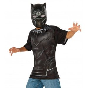 Black Panther Kids Play Time Costume Price: $20.00  This simple play time costume includes a printed shirt and mask.  Perfect for your favorite Captain America comic book or The Avengers fan for Halloween or play time.  Officially Licensed Marvel Costume from The Avengers.  #cosplay #costumes #halloween