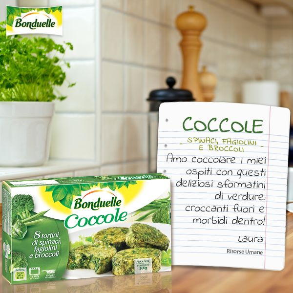 Delicati e gustosi #sformatini di #verdure da cuocere in forno o in padella, le #Coccole sono ideali per tutta la famiglia, anche grazie al loro prezioso apporto di fibre. http://www.bonduelle.it/prodotti/i-piatti-pronti/le-coccole-spinaci-fagiolini-broccoli/